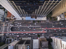 Sao Paulo, Brazil, August, 2017. Aerial View On Paulista Avenue, In Sao Paulo City