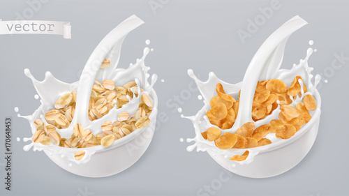 Photo Rolled oats and milk splashes