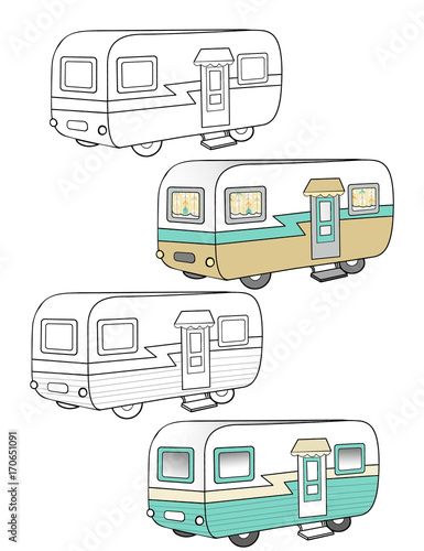 Vintage Camper Trailer Vector Illustration Wallpaper Mural