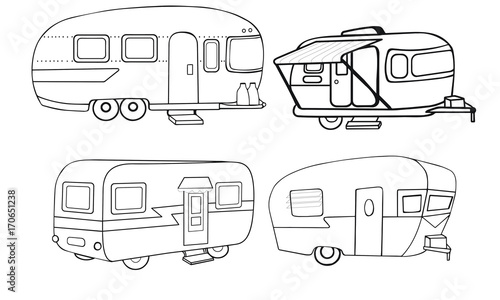 Cuadros en Lienzo  Vintage Campers Vector Illustrations