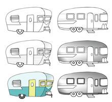 Vintage Camper Trailer Illustr...