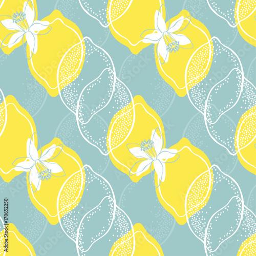 Cytryny i kwiat. Bezszwowe wektor wzór.