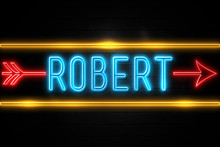 Robert  - Fluorescent Neon Sign On Brickwall Front View