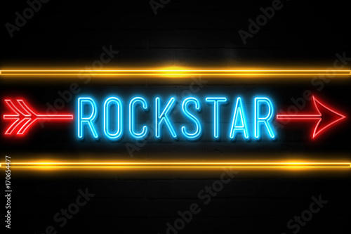 Photo  Rockstar  - fluorescent Neon Sign on brickwall Front view