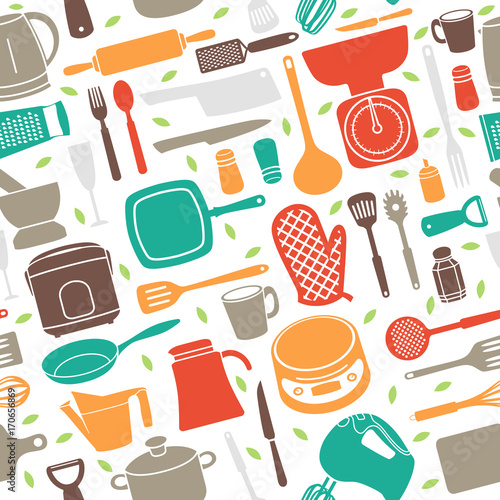 Fotomural Seamless Pattern of Kitchen Utensil in Retro Style