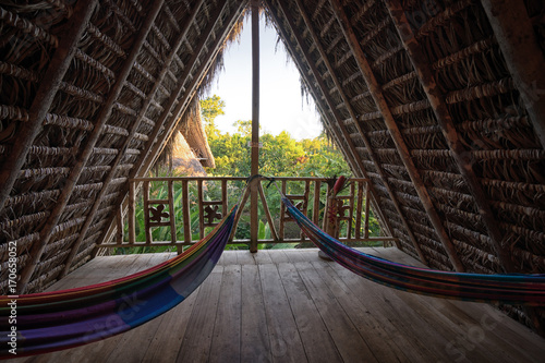 Fotomural hammocks in eco lodge built from bamboo in the jungle