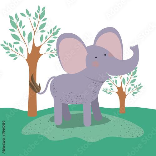 Fototapeta elephant animal caricature in forest landscape background vector illustration