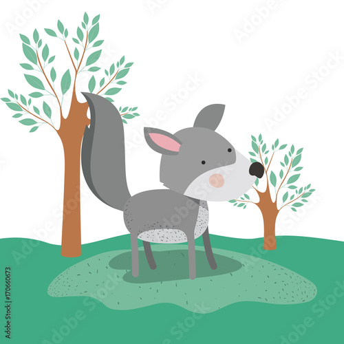 Fototapeta wolf animal caricature in forest landscape background vector illustration
