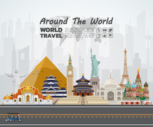 World Famous Landmark Paper Art. Global Travel And Journey Infographic Road. Vector Flat Design Template.vector/illustration.Can Be Used For Your Banner, Business, Education, Website Or Any Artwork