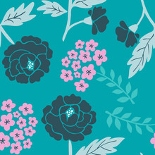 Stylish Elegant Romantic Tender Colorful Seamless Hand-drawn Floral Pattern With Black And Pink Flowers On A Teal Color Background. Vector Illustration.