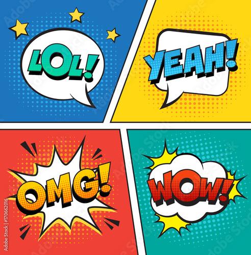 Zdjęcie XXL Retro komiczni mowa bąble ustawiający na kolorowym tle. Tekst wyrażenia LOL, OMG, WOW, YEAH. Ilustracja wektorowa, vintage design, styl pop-artu.