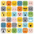 Emoji emoticons set face expression feelings collection vector illustration