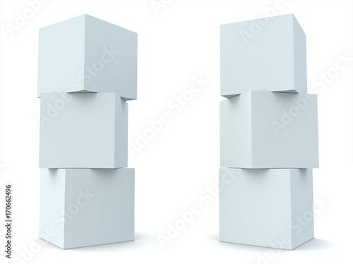 Photo  Three White Blocks Blue Tint