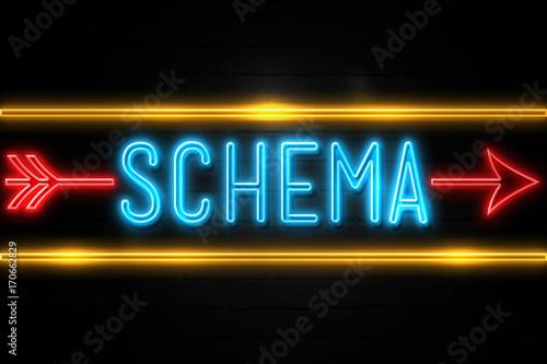 Schema  - fluorescent Neon Sign on brickwall Front view Lerretsbilde