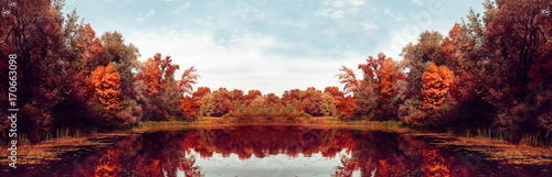 Foto op Canvas Herfst Autumn Panorama. Fall scene. Beautiful Autumnal park. Beauty nature scene. Autumn landscape, Trees and Leaves, Reflection on the water