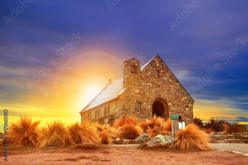 Foto auf Gartenposter Neuseeland church of good shepherd south island new zealand