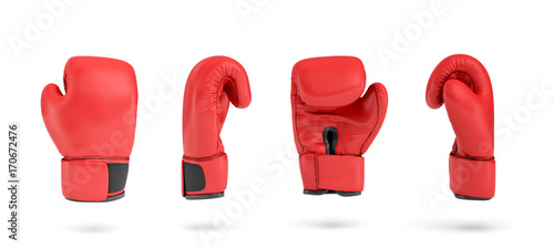 Valokuva  3d rendering of a red right boxing glove in four different angle views