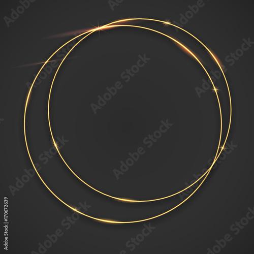 Sparkling Golden Glow Rings Frame With Light Effect On Dark