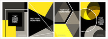 Set Of 4 Minimal Geometric Graphic Covers Design. Simple Poster Template In Black And Yellow.
