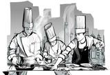 Szefowie kuchni w kuchni gotowania w restauracji - 170681052