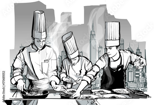 Deurstickers Art Studio Chefs in a restaurant kitchen cooking