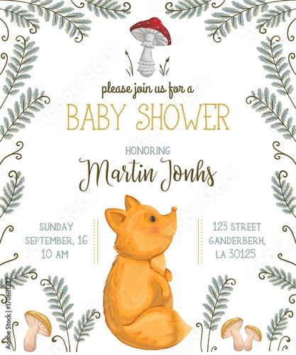 Baby shower zaproszenia z lisów, grzybów, kwiatów, liści i paproci. Ładny postać z kreskówki. Ręcznie rysowane ilustracji wektorowych w stylu przypominającym akwarele