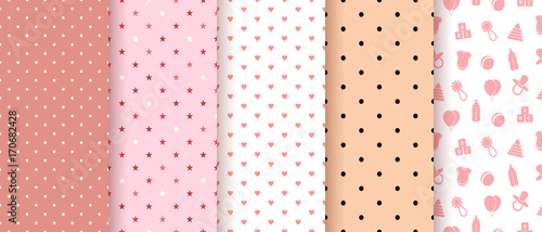fototapeta na ścianę Seamless patterns for baby girl shower party. Set of cute pink backgrounds for invitation templates, scrapbook, cards. Vector illustration.