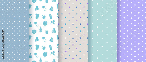 fototapeta na drzwi i meble Seamless patterns for baby boy shower party. Set of cute pink backgrounds for invitation templates, scrapbook, cards. Vector illustration.