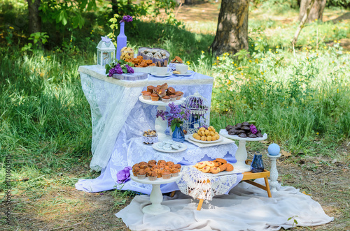 Keuken foto achterwand Picknick the tables with the desserts . decorated plates of cookies , biscuits. A wedding Banquet . Extra pounds and calories . Sweets of various kinds