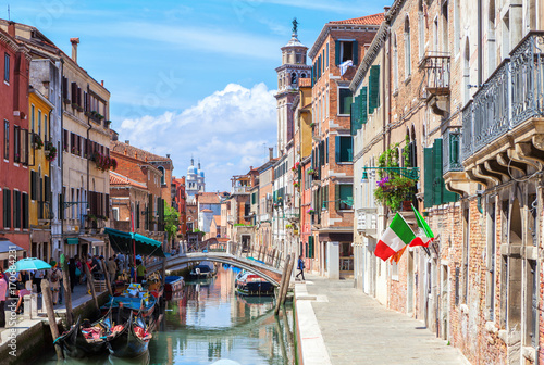 View of colorful canal in Venice at sunny morning, Italy.