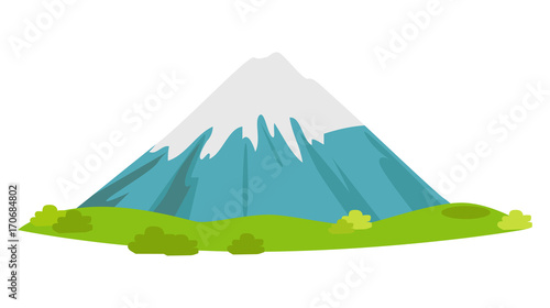 Fototapeta Snowy Mountain with Green Meadow at Foot Vector obraz