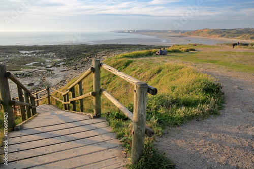 The coastline at Pointe aux Oies near Wimereux with Ambleteuse beach in the back Wallpaper Mural