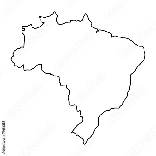 Brazil map of black contour curves of vector illustration Canvas