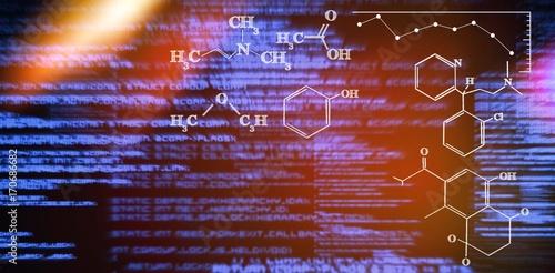 Composite image of digital image of chemical formulas Wallpaper Mural