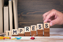 Impress Concept. Wooden Letter...