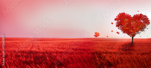 Poster Lichtroze Tree of love. Red heart shaped tree at sunset. Beautiful landscape with red tree and falling leaves.Love background