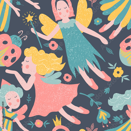 Fototapety, obrazy: Girls vector fairy seamless pattern