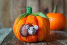 Felted Pumpkin House For A Cute Plush Mouse