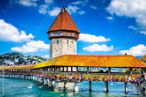 Photographie  Lucerne, Switzerland - Chapel Bridge