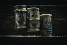 Dollar Banknotes In Rolls