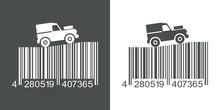 Icono Plano Codigo De Barras Land Rover Gris Y Blanco