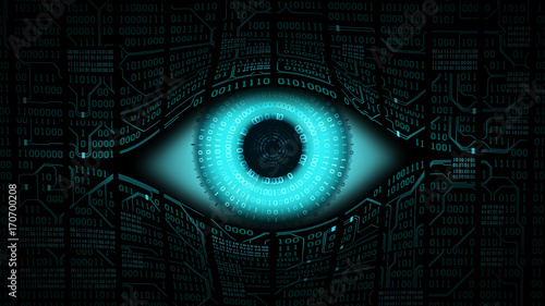 Canvastavla Big brother electronic eye concept, technologies for the global surveillance, se