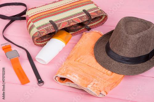 Summer Accessories Straw Beach Bag Sun Hat Belt Watch Suntan Lotion