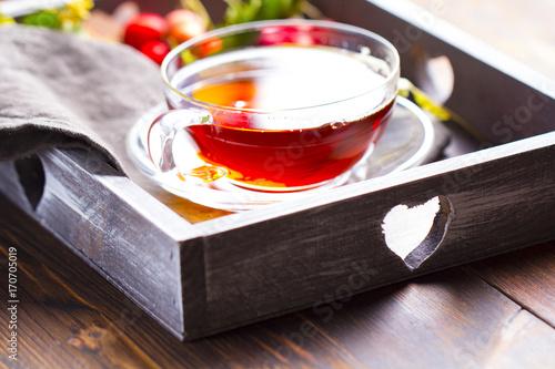 Photo  Tea vitamins freshness drink wooden background