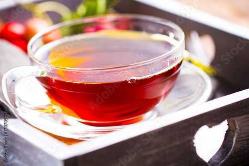 Tea vitamins freshness drink wooden background Wallpaper Mural