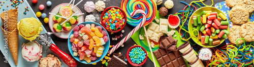 Assortment of colourful, festive sweets and candy