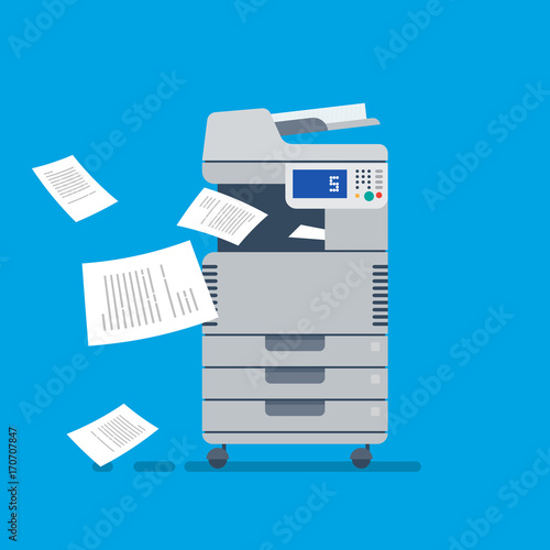 Office Multifunctional printer scanner. Flat Vector Wall mural