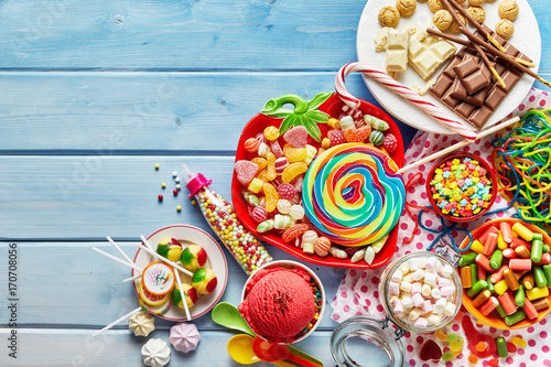 Cuadros en Lienzo Colorful childs sweets and treats