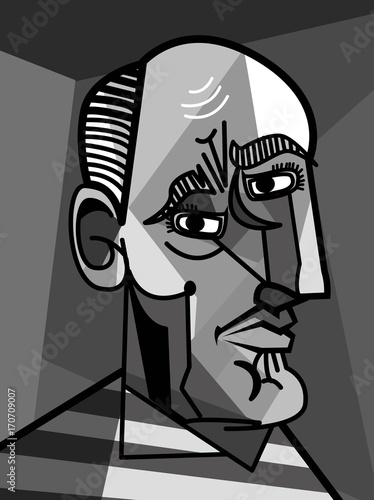 cubist painter portrait Canvas Print