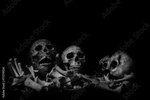 Obraz na plátne Awesome pile of skull human and bone on wooden, black cloth background